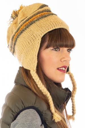 Caciula din lana cu urechi - Ivory1