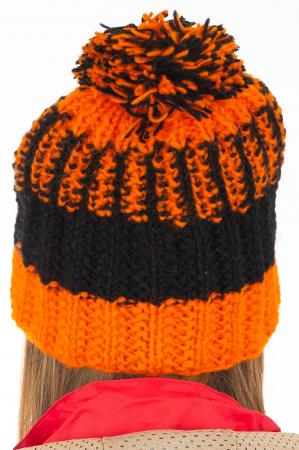 Caciula din lana - Orange and Black6