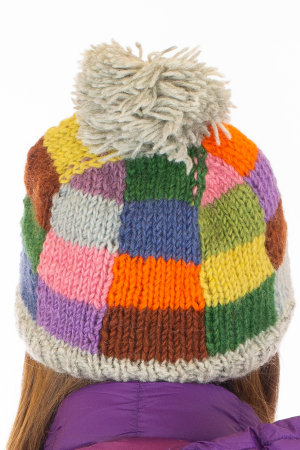 Caciula din lana - Rainbow patches6