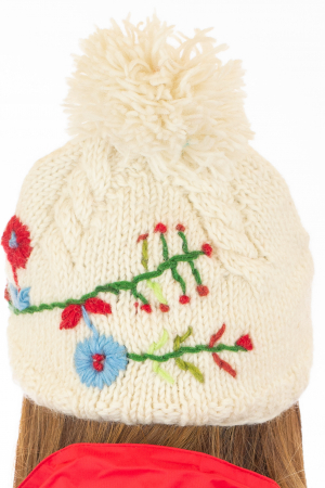 Caciula din lana Flowers - White5