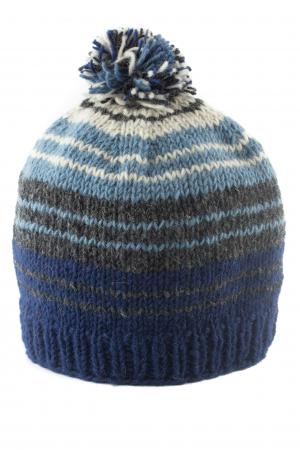 Caciula din lana cu ciucure - Blue Lines0