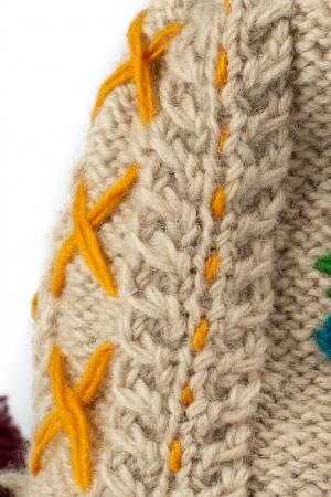 Caciula din lana copii Flowers - Bej1