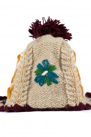Caciula din lana copii Flowers - Bej0