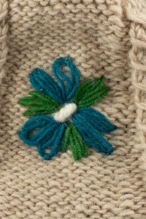 Caciula din lana copii Flowers - Bej2