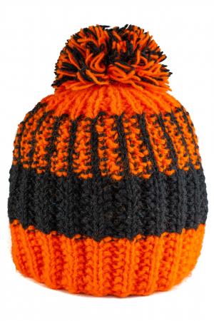 Caciula din lana - Orange and Black1