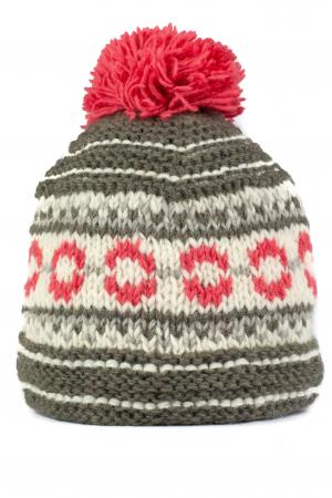 Caciula din lana copii - Pink and Grey0