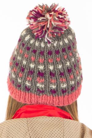 Caciula din lana - Pink bits6