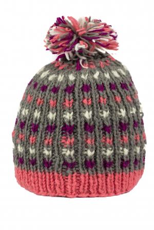 Caciula din lana - Pink bits1