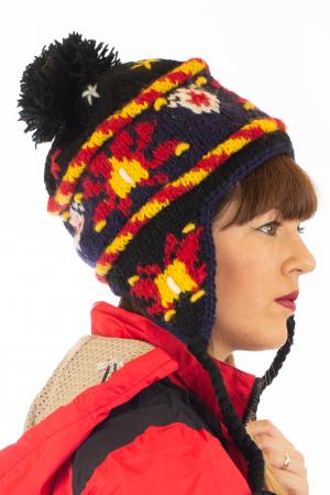 Caciula din lana cu urechi - Black1