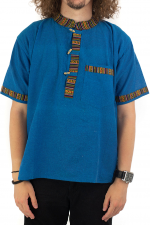 Camasa albastra cu maneca scurta - Motive etno [0]