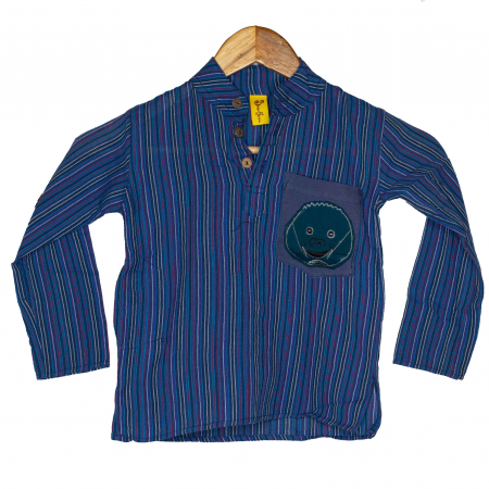 Camasa copii maneca lunga din bumbac albastra - Porcusor M120