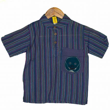 Camasa copii maneca scurta din bumbac albastra - Porcusor M10