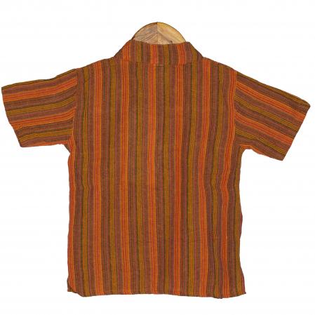 Camasa copii maneca scurta din bumbac portocalie - Bufnita M61