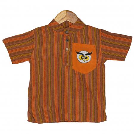 Camasa copii maneca scurta din bumbac portocalie - Bufnita M60