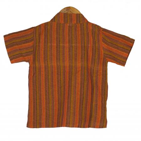 Camasa copii maneca scurta din bumbac portocalie - Hipopotan M17 [1]
