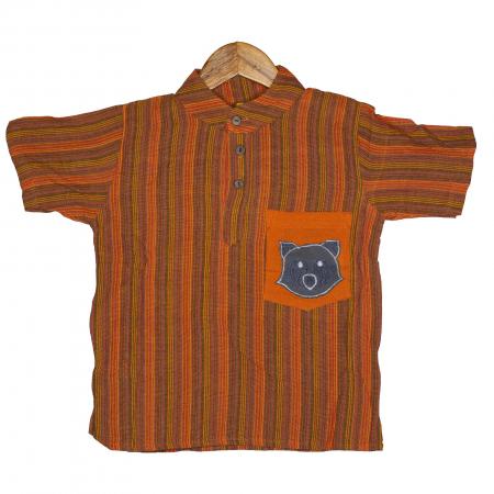 Camasa copii maneca scurta din bumbac portocalie - Raton M50