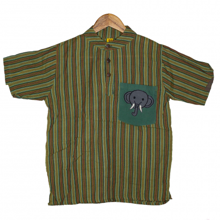 Camasa copii maneca scurta din bumbac verde - Elefant M80