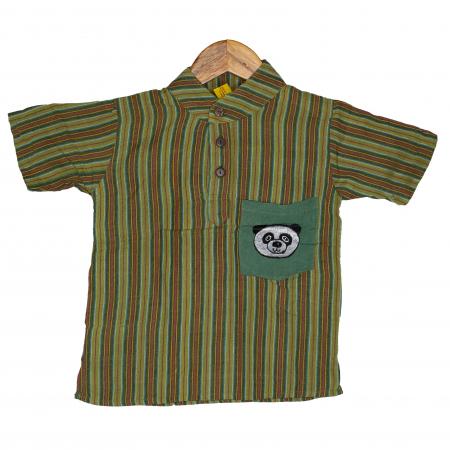 Camasa copii maneca scurta din bumbac verde - Panda M7 [0]