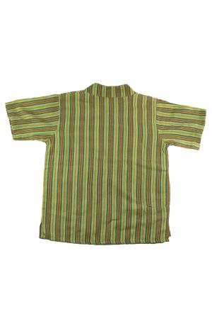 Camasa copii maneca scurta din bumbac verde - Zebra [1]