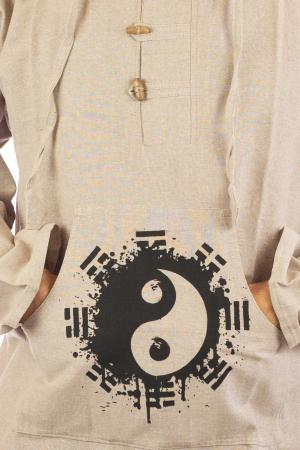 Hanorac cu print - Ying Yang - Alb2