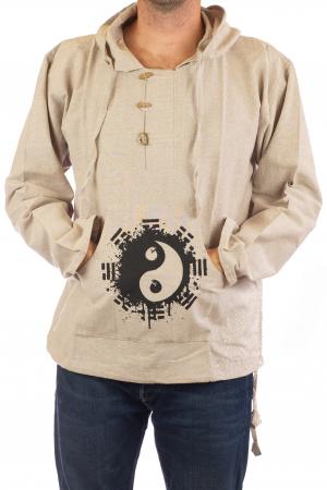 Hanorac cu print - Ying Yang - Alb1