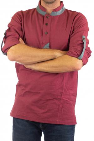 Camasa cu maneca lunga - Grey Collar - Visiniu [5]