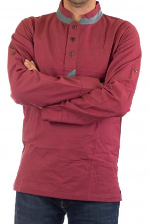 Camasa cu maneca lunga - Grey Collar - Visiniu [4]