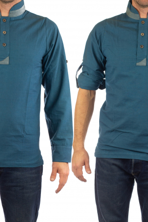 Camasa cu maneca lunga - Grey Collar - Turcoaz1