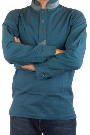 Camasa cu maneca lunga - Grey Collar - Turcoaz4