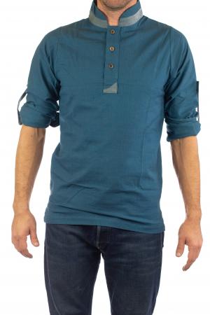 Camasa cu maneca lunga - Grey Collar - Turcoaz3
