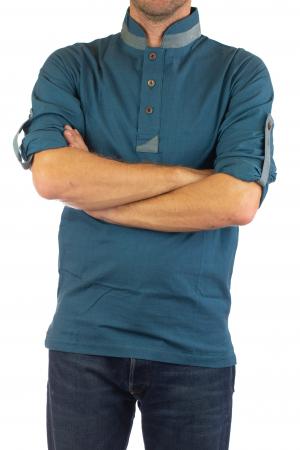 Camasa cu maneca lunga - Grey Collar - Turcoaz5