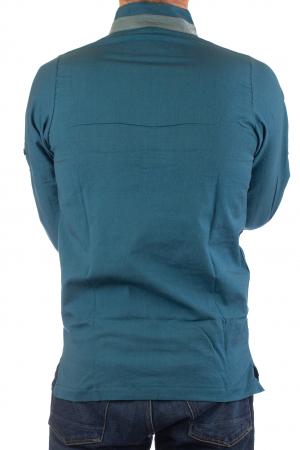 Camasa cu maneca lunga - Grey Collar - Turcoaz10