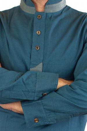 Camasa cu maneca lunga - Grey Collar - Turcoaz6