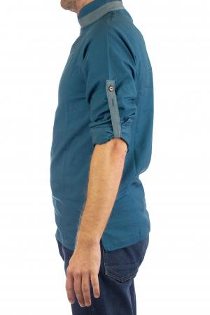 Camasa cu maneca lunga - Grey Collar - Turcoaz8
