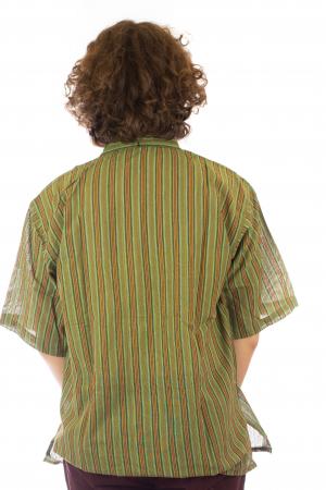 Camasa cu maneca scurta, in dungi - Verde3