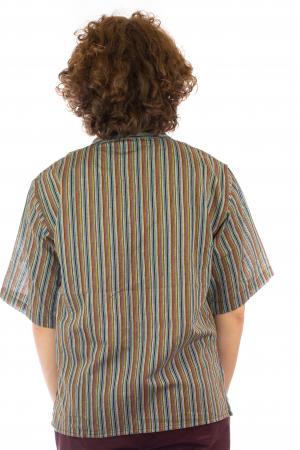 Camasa cu maneca scurta, in dungi - Gri Multicolor4