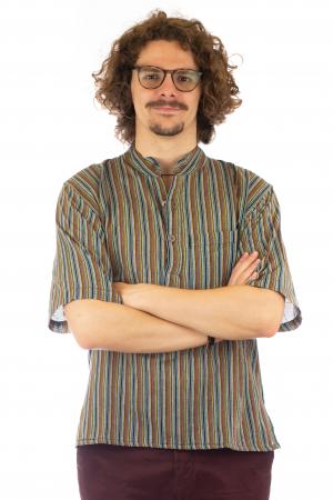 Camasa cu maneca scurta, in dungi - Gri Multicolor2