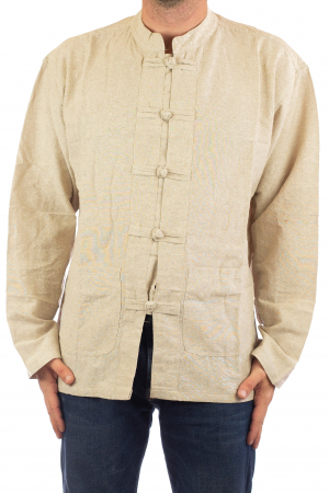 Camasa cu nod chinezesc - Chinese knot shirt - Crem [0]