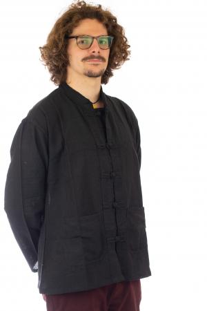 Camasa cu nod chinezesc - Chinese knot shirt - Negru - Model 2 [3]