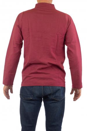 Camasa cu nod chinezesc - Chinese knot shirt - Visiniu3