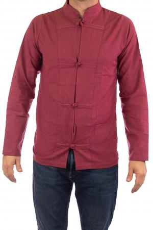 Camasa cu nod chinezesc - Chinese knot shirt - Visiniu1