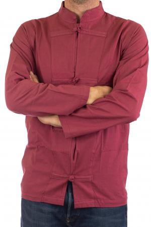 Camasa cu nod chinezesc - Chinese knot shirt - Visiniu2