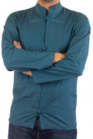 Camasa cu nod chinezesc - Chinese knot shirt - Turcoaz [2]