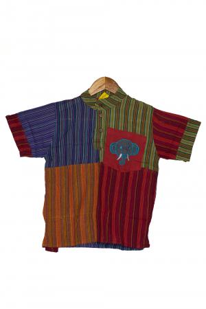 Camasa din bumbac de copii, Elefant marimea XL - maneca scurta unicata M20