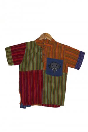 Camasa din bumbac de copii, Elefant marimea XL - maneca scurta unicata M40