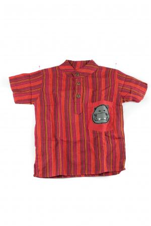 Camasa din bumbac de copii, Hipopotam marimea S - Maneca scurta unicata M330
