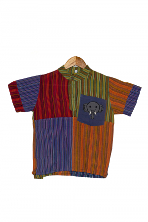 Camasa din bumbac de copii, Elefant marimea XL - maneca scurta unicata M70