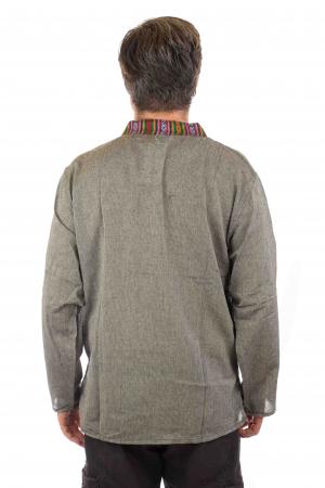 Camasa lejera de bumbac cu maneca lunga- Etno - Gri2