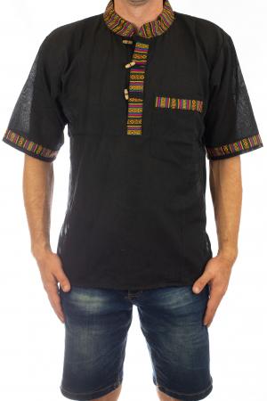 Camasa lejera de vara - Etno - Negru0
