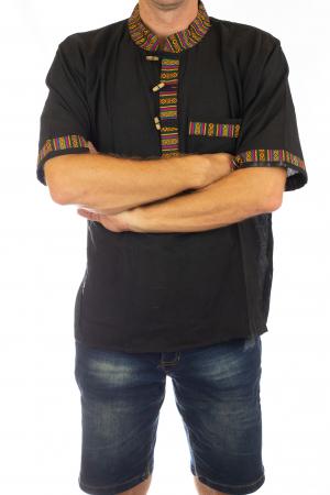 Camasa lejera de vara - Etno - Negru2